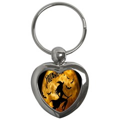 Halloween Wicked Witch Bat Moon Night Key Chains (heart)  by Alisyart