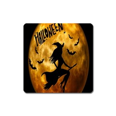 Halloween Wicked Witch Bat Moon Night Square Magnet by Alisyart