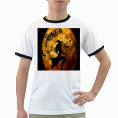 Halloween Wicked Witch Bat Moon Night Ringer T Shirts