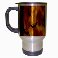 Halloween Wicked Witch Bat Moon Night Travel Mug (silver Gray) by Alisyart