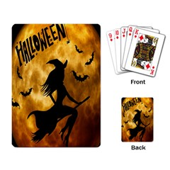 Halloween Wicked Witch Bat Moon Night Playing Card by Alisyart