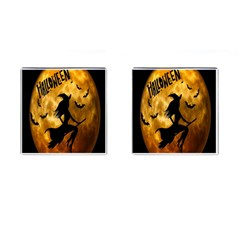 Halloween Wicked Witch Bat Moon Night Cufflinks (square)