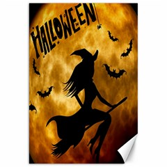 Halloween Wicked Witch Bat Moon Night Canvas 20  X 30   by Alisyart