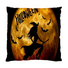 Halloween Wicked Witch Bat Moon Night Standard Cushion Case (two Sides) by Alisyart