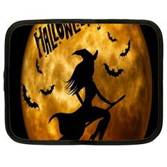 Halloween Wicked Witch Bat Moon Night Netbook Case (xxl)  by Alisyart