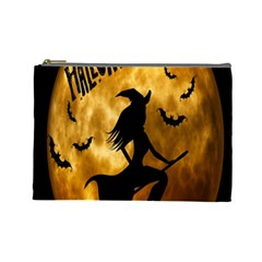 Halloween Wicked Witch Bat Moon Night Cosmetic Bag (large)  by Alisyart