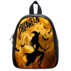 Halloween Wicked Witch Bat Moon Night School Bag (small) by Alisyart