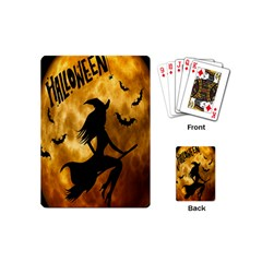 Halloween Wicked Witch Bat Moon Night Playing Cards (mini)  by Alisyart