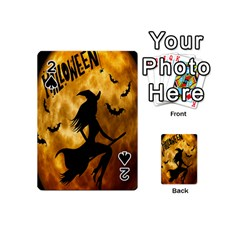 Halloween Wicked Witch Bat Moon Night Playing Cards 54 (mini)  by Alisyart