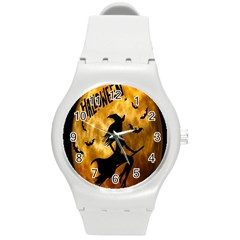 Halloween Wicked Witch Bat Moon Night Round Plastic Sport Watch (m) by Alisyart