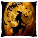 Halloween Wicked Witch Bat Moon Night Large Cushion Case (Two Sides) Back