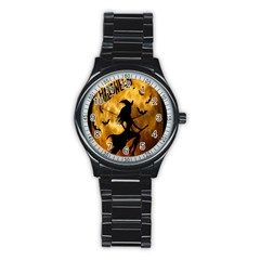 Halloween Wicked Witch Bat Moon Night Stainless Steel Round Watch by Alisyart