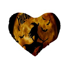 Halloween Wicked Witch Bat Moon Night Standard 16  Premium Flano Heart Shape Cushions by Alisyart