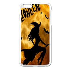 Halloween Wicked Witch Bat Moon Night Apple Iphone 6 Plus/6s Plus Enamel White Case by Alisyart