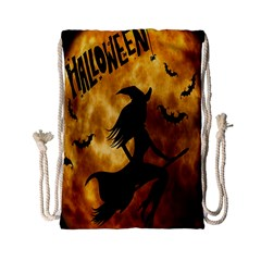Halloween Wicked Witch Bat Moon Night Drawstring Bag (small) by Alisyart