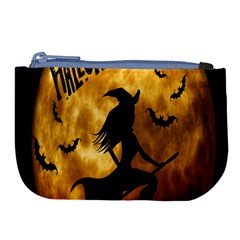 Halloween Wicked Witch Bat Moon Night Large Coin Purse