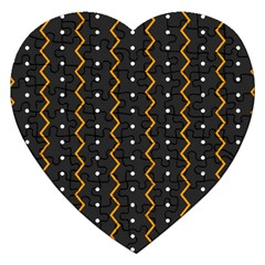 Halloween Zigzag Vintage Chevron Ornamental Cute Polka Dots Jigsaw Puzzle (heart) by Alisyart
