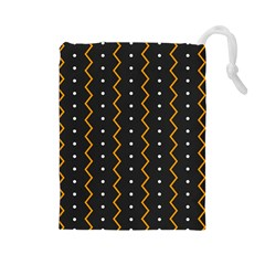 Halloween Zigzag Vintage Chevron Ornamental Cute Polka Dots Drawstring Pouches (large)  by Alisyart
