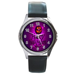 Happy Ghost Halloween Round Metal Watch by Alisyart