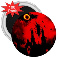 Big Eye Fire Black Red Night Crow Bird Ghost Halloween 3  Magnets (100 Pack) by Alisyart