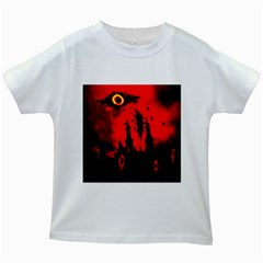 Big Eye Fire Black Red Night Crow Bird Ghost Halloween Kids White T Shirts by Alisyart