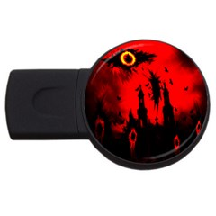 Big Eye Fire Black Red Night Crow Bird Ghost Halloween Usb Flash Drive Round (4 Gb)