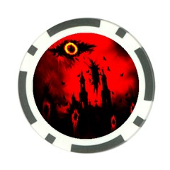 Big Eye Fire Black Red Night Crow Bird Ghost Halloween Poker Chip Card Guard (10 Pack)
