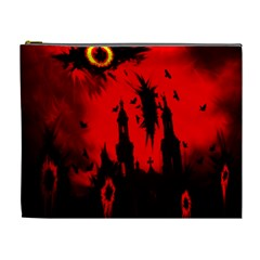 Big Eye Fire Black Red Night Crow Bird Ghost Halloween Cosmetic Bag (xl)