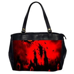 Big Eye Fire Black Red Night Crow Bird Ghost Halloween Office Handbags (2 Sides)  by Alisyart