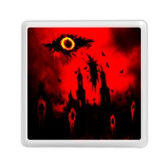Big Eye Fire Black Red Night Crow Bird Ghost Halloween Memory Card Reader (square)  by Alisyart