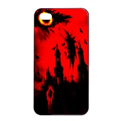 Big Eye Fire Black Red Night Crow Bird Ghost Halloween Apple Iphone 4/4s Seamless Case (black) by Alisyart