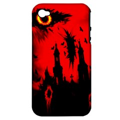 Big Eye Fire Black Red Night Crow Bird Ghost Halloween Apple Iphone 4/4s Hardshell Case (pc+silicone)
