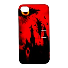 Big Eye Fire Black Red Night Crow Bird Ghost Halloween Apple Iphone 4/4s Hardshell Case With Stand