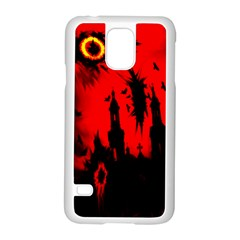 Big Eye Fire Black Red Night Crow Bird Ghost Halloween Samsung Galaxy S5 Case (white)
