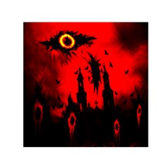 Big Eye Fire Black Red Night Crow Bird Ghost Halloween Small Satin Scarf (square)
