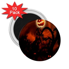 Halloween Pumpkins Tree Night Black Eye Jungle Moon 2 25  Magnets (10 Pack)  by Alisyart