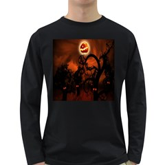 Halloween Pumpkins Tree Night Black Eye Jungle Moon Long Sleeve Dark T Shirts