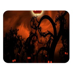 Halloween Pumpkins Tree Night Black Eye Jungle Moon Double Sided Flano Blanket (large)