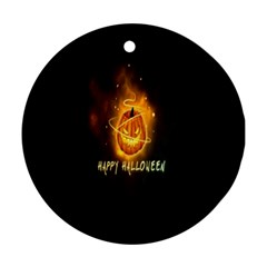 Happy Halloween Pumpkins Face Smile Face Ghost Night Ornament (round) by Alisyart
