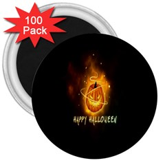Happy Halloween Pumpkins Face Smile Face Ghost Night 3  Magnets (100 Pack) by Alisyart