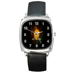 Happy Halloween Pumpkins Face Smile Face Ghost Night Square Metal Watch by Alisyart