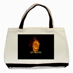 Happy Halloween Pumpkins Face Smile Face Ghost Night Basic Tote Bag by Alisyart