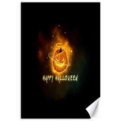 Happy Halloween Pumpkins Face Smile Face Ghost Night Canvas 12  X 18   by Alisyart