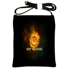 Happy Halloween Pumpkins Face Smile Face Ghost Night Shoulder Sling Bags by Alisyart