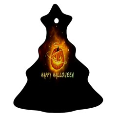 Happy Halloween Pumpkins Face Smile Face Ghost Night Ornament (christmas Tree)
