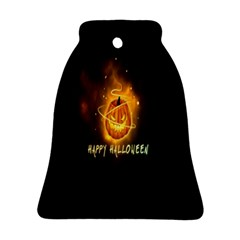 Happy Halloween Pumpkins Face Smile Face Ghost Night Ornament (bell) by Alisyart