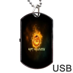 Happy Halloween Pumpkins Face Smile Face Ghost Night Dog Tag Usb Flash (one Side)