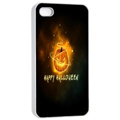 Happy Halloween Pumpkins Face Smile Face Ghost Night Apple Iphone 4/4s Seamless Case (white) by Alisyart