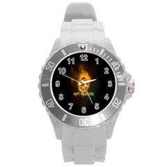 Happy Halloween Pumpkins Face Smile Face Ghost Night Round Plastic Sport Watch (l) by Alisyart