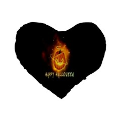 Happy Halloween Pumpkins Face Smile Face Ghost Night Standard 16  Premium Heart Shape Cushions